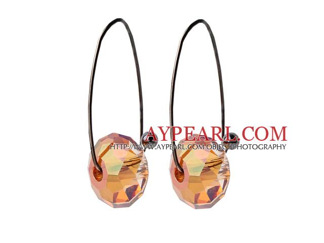 2014 Summer Design Earth Shape Champagne Austrian Crystal Earrings With Long Hook