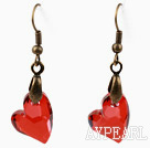 Vintage Style Heart Shape Bright Red Color Austrian Crystal Earrings