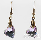 Wholesale Vintage Style Heart Shape Gray with Colorful Austrian Crystal Earrings