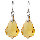 2014 Summer Design Baroque Leaf Shape Yellow Austrian Crystal Earrings With Elegant Hook