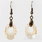 Wholesale Vintage Style Donut Shape Champagne Color Austrian Crystal Earrings