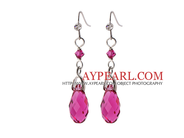 2014 Summer Design Water Drop Shape Rose Red Austrian Crystal Earrings With Elegant Hook
