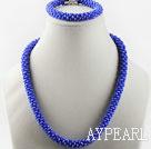 Dark blue color Czech crystal necklace bracelet set with magnetic clasp