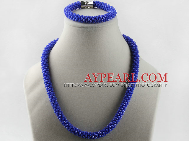 Dark blue color Czech crystal necklace bracelet set with magnetic clasp