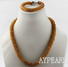 Coffe color Czech crystal necklace bracelet set with magnetic clasp