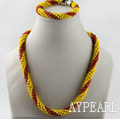 red and yellow Czech crystal necklace bracelet set with magnetic clasp