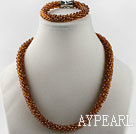 Wholesale Brown color Czech crystal necklace bracelet set with magnetic clasp