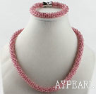 cherry color Czech crystal necklace bracelet set with magnetic clasp couleur cerise cristal tchèque ensemble bracelet collier avec fermoir magnétique