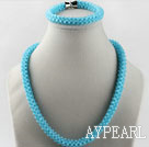 Wholesale sea blue color Czech crystal necklace bracelet set with magnetic clasp
