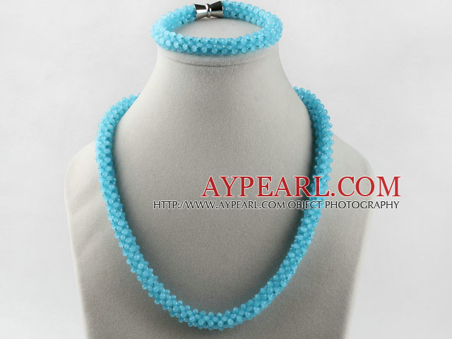 sea blue color Czech crystal necklace bracelet set with magnetic clasp