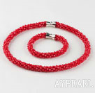 Wholesale Red color Czech crystal necklace bracelet set with magnetic clasp