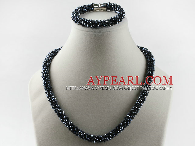 Black color Czech crystal necklace bracelet set with magnetic clasp