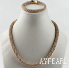 Gold plated necklace bracelet set with magnetic clasp Bracelet collier plaqué serti de fermoir magnétique