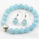 Classic Design 8mm Natural Aquamarine Beaded Thai Silver Bracelet with Matched Earrings