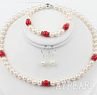Wholesale White Freshwater Pearl and Red Coral Set ( Necklace Bracelet and Matched Earrings )