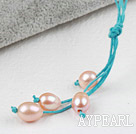 Wholesale Simple Style Natural Pink Freshwater Pearl Necklace with Green Thread