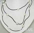 Long Style White Pearl Necklace with Black Cord