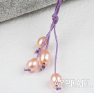 Simple Style Natural Pink Freshwater Pearl Necklace with Purple Thread