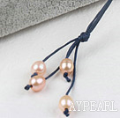Simple Style Natural Pink Freshwater Pearl Necklace with Dark Blue Thread