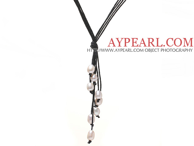 Simple Style Natural White Freshwater Pearl Necklace with Black Thread