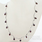 Ny design Svart Freshwater Pearl Necklace med Metal Chain