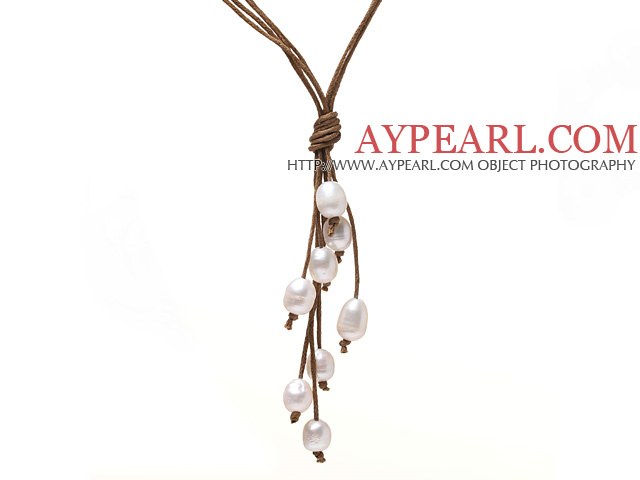 Simple Style Natural White Freshwater Pearl Necklace with Brown Thread