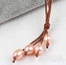 Simple Style Natural Pink Freshwater Pearl Necklace with Brown Thread
