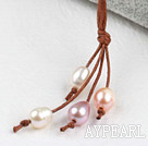 Wholesale Simple Style Natural White Pink Purple Freshwater Pearl Necklace with Brown Thread