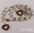 long style fresh water pearl and crystal heart agate necklace