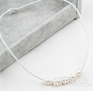 Simple Design White FW Pearl Necklace with White Leather
