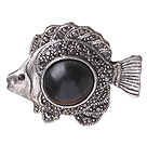 vintage-like engraved alloy jewelry immitation black  gemstone fish shape pendant 