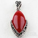 vintage-like engraved alloy jewelry black oval immitation gemstone pendant with rhinestone