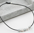Simple Design White and Gray FW Pearl Necklace with Black Leather