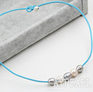 Simple Design White and Gray FW Pearl Necklace with Blue Leather