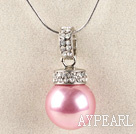 pink 16mm sea shell bead pendant necklace with shinning crystal rhinestone