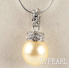 light yellow 16mm sea shell bead pendant necklace with shinning crystal rhinestone