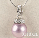 noble violet16mm sea shell bead pendant necklace with shinning crystal rhinestone