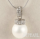 pure white 16mm sea shell bead pendant necklace with shinning crystal rhinestone