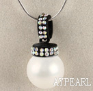white 16mm sea shell bead pendant necklace with shinning colorful rhinestone