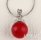 bright red 16mm sea shell bead pendant necklace with shinning crystal rhinestone