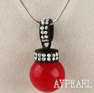 bright red 16mm sea shell bead pendant necklace with shinning colorful rhinestone