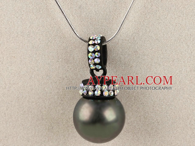 balck 16mm sea shell bead pendant necklace with shinning colorful rhinestone