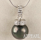 black 16mm sea shell bead pendant necklace with shinning crystal rhinestone