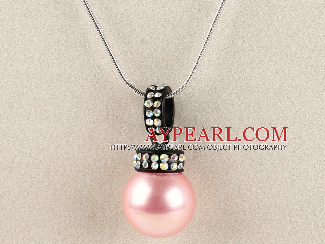 light pink 16mm sea shell bead pendant necklace with shinning colorful rhinestone