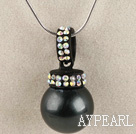black 16mm sea shell bead pendant necklace with shinning colorful rhinestone