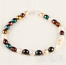 exquisite  15.7 inches 12-13mm dyed fresh water multi color pearl necklace