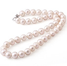 wonderful 15.7  inches 8-9mm natural white color round pearl necklace