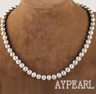 noble 15.7 inches 8-9mm gray round pearl necklace