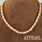 15.7  inches 8*13mm peanut shape natural pink color  pearl necklace