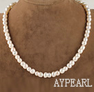 charming 16.5  inches 8*13mm peanut shape natural white color  pearl necklace